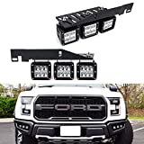 iJDMTOY LED Pod Light Fog Lamp Kit For 2017-up Ford F150 Raptor, Includes (6) 24W High Power 2x3 CREE LED Cubes, Lower Bumper Opening Area Mounting Brackets & On/Off Switch Wiring Kit