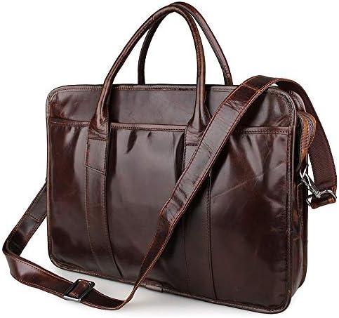 メンズブリーフケース メンズクラシックレザーブリーフケースレトロビジネスバッグラップトップバッグに最適のビジネスピープル 便利で持ち運びが簡単 (Color : Brown, Size : 39.5x9x30.5cm)