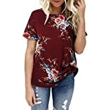 CUCUHAM Women Ladies Sexy Casual Floral Printing T-Shirt Short Sleeve Tops Blouse (L, Red)