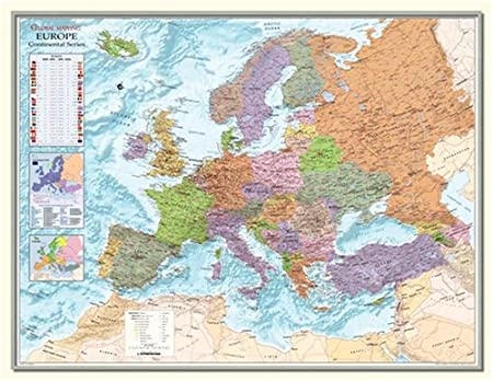 Large Framed Map Of The World.Large Framed Map Of Europe 53 X 40 Amazon Co Uk Kitchen Home