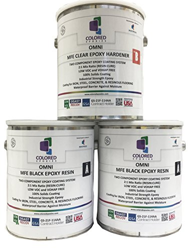 Coloredepoxies 10015 Black Epoxy Resin Coating Made with Beautiful and Vibrant Pigments, 100% Solids, For Garage Floor, Basements, Concrete and Plywood. 3 GALLON KIT