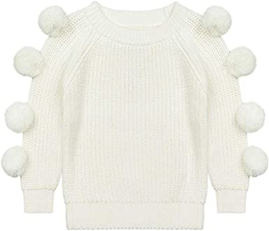 Dragon Honor Baby Girls Crewneck Pompom Ball Dots Sweater Knitted Winter Pullover Tops