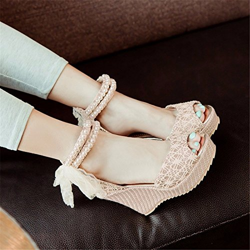 for Apricot Heeled Sandals Sandals High Wedge Lace Platform Womens Platform Party Heel Women nbsp; Roman Shoes Mouth nbsp;Fish for Eu43 Heel Waterproof Sandals Color tq1rwSq
