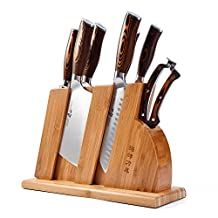 Kitchen Knife Set with Wooden Block 8 PCS - Chinese Chef's, Chopping, Utility, Paring, Santoku, Honing Steel, Shears and Knife Block - TUO Cutlery Fiery Series - German Steel with Pakkawood Handle