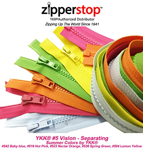 ZipperStop Wholesale YKK - Fashion Trends Zippers 36 Inch Sport YKK #5 Vislon Jacket Zipper (5 Assorted Colors) Medium Weight Molded Plastic - Separating (Summer) ()