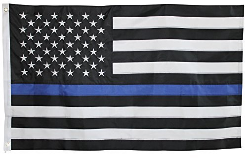 Thin Blue Line Flag - 3X5 Foot with Embroidered Stars and Sewn Stripes - Black White and Blue American Police Flag Honoring Law Enforcement Officers