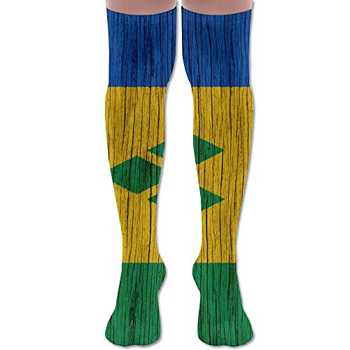 (Flag Of Saint Vincents Polyester Cotton Over Knee Leg High Socks Personalized Unisex Thigh Stockings Cosplay Boot Long Tube Socks For Sports Gym Yoga Hiking Cycling Running Soccer)