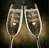 Mother of the Bride Groom Champagne Glass Parents Wedding Champagne Flutes Glasses Unique Mother of the