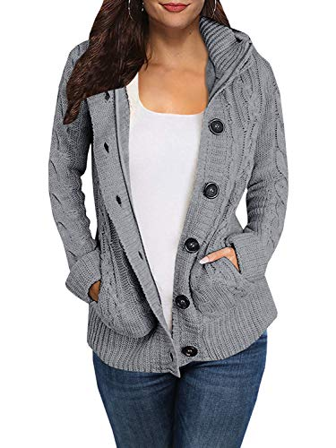 Enjoybuy Grey Womens Cable Knit Hooded Sweater Cardigan Buttons Open Front Outerwear
