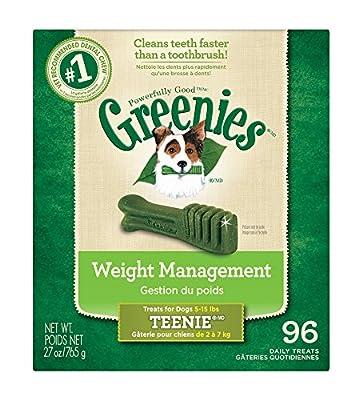 GREENIES Weight Management Dental Dog Treats, Teenie, 96 Treats, 27 oz.