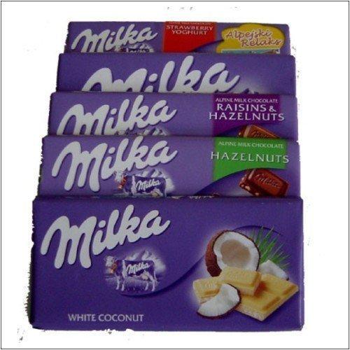 Milka Chocolate - 10 Bars (2 of each - alpine, strawberry yogurt, hazelnuts, white, happy cows)