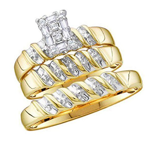 Closeout: 0.1 cttw 10k Yellow Gold Diamond Trio Wedding Sets For Him and Her 3 Piece Bridal Ring Set