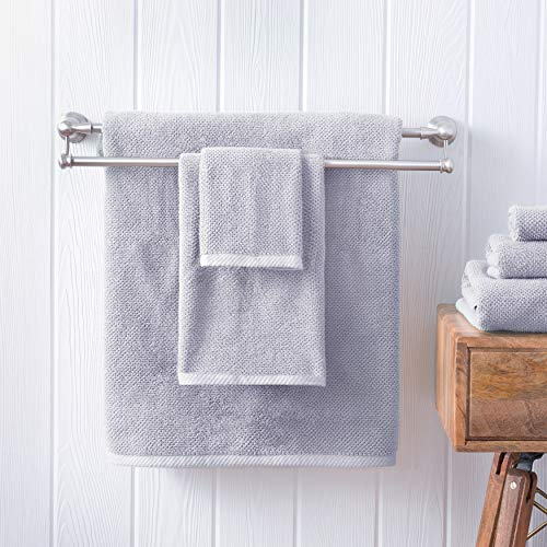 Welhome Franklin 100% Cotton Textured Towel (Lilac) - Set of 6 - Highly Absorbent - Combed Cotton - Durable - Low Lint - 600 GSM - Machine Washable : 2 Bath Towels - 2 Hand Towels - 2 Wash Towels