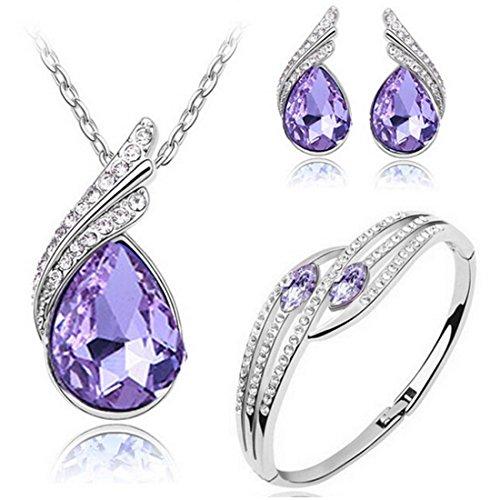 MAFMO Bridal Water Drop Jewelry Set Crystal Pendant Necklace Bracelet Stud Earrings (Violet)