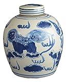 Festcool Antique Style Blue and White Porcelain Lion Dancing Ceramic Covered Jar Vase, China Ming Style, Jingdezhen (LJ2)