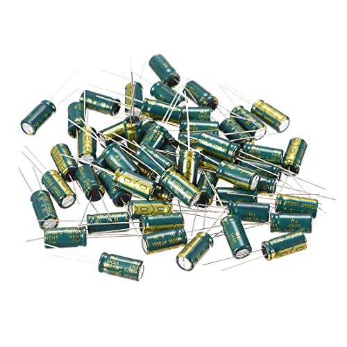 uxcell Aluminum Radial Electrolytic Capacitor Low ESR Green with 1500uF 10V 105 Celsius Life 3000H 8 x 16 mm High Ripple Current,Low Impedance 50pcs ()