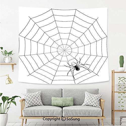Spider Web Wall Tapestry,Toxic Poisonous Insect Thread Crawly Malicious Bug Halloween Character Design Decorative,Bedroom Living Room Dorm Wall Hanging,80X60 Inches,Black White]()