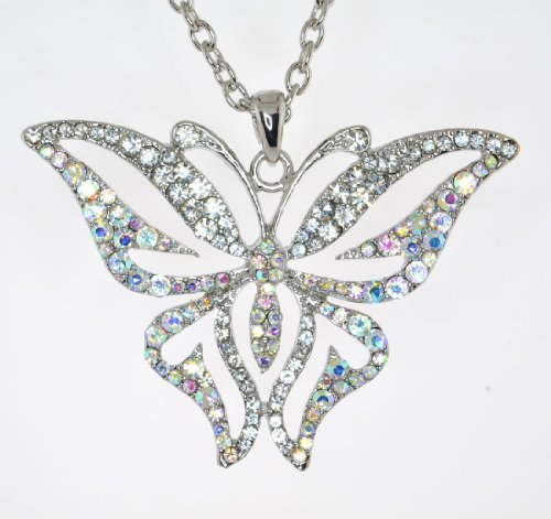 Mevoi Vintage Style Austrian Crystal Butterfly Chain Necklace - AB & -
