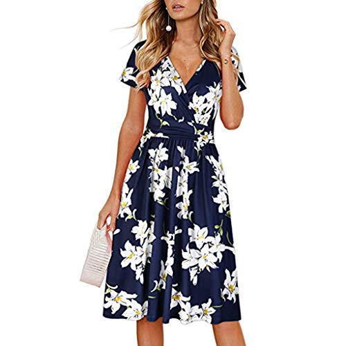 YANG-YI Releases! Women Print Short Sleeve Dress V Neck Damask Pleated Midi Dress Summer Empire Knee-Length Dress Blue