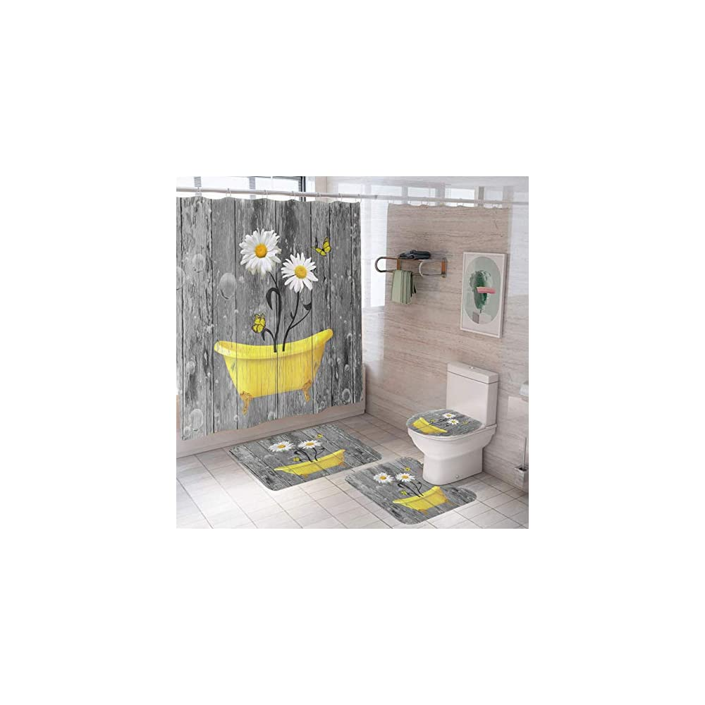 Minxiang 4PCS Rustic Yellow Daisy in Bathtub Shower Curtain Set with Rugs Toilet Lid Cover Bath Mat Farmhouse Butterfly…