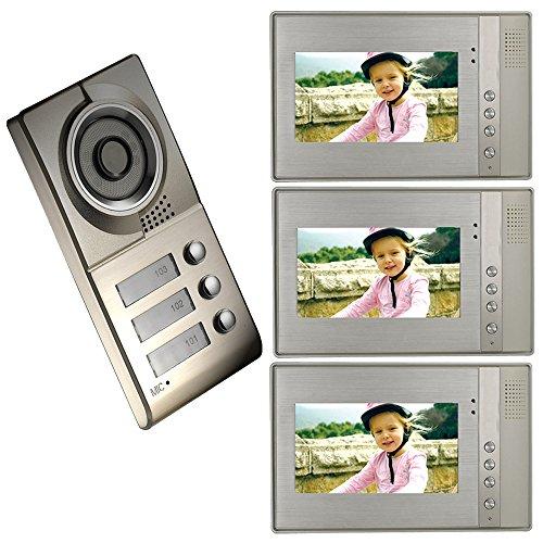 FT-LCD Screen 4-Wire Video Door Phone Intercom System Doorbell Kit 1 Camera 3 Monitors (3 Wire Intercom)