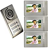 CUSAM 7 Inch Color TFT-LCD Screen 4-Wire Video Door Phone Intercom System Doorbell Kit 1 Camera 3 Monitors