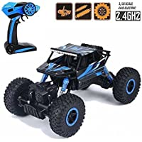 Higadget 1:18 Scale 2.4 Ghz Dirt Drift Waterproof Remote Controlled Rock Crawler 4 Wheel Drive RC Monster Truck (Random Color)