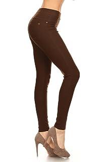 e9e53dfd84e1f7 Leggings Depot Premium Quality Cotton Blend Stretch Jeggings with 2 Pockets