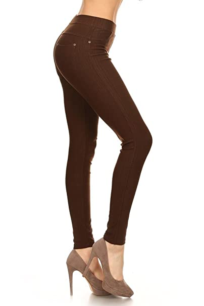 84e91029 Leggings Depot Premium Quality Cotton Blend Stretch Jeggings with 2 Pockets  at Amazon Women's Clothing store: