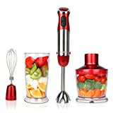 Appliances :  KOIOS Powerful 500-4-in-1 Hand Blender with 6 Speed - Red