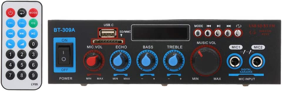 Docooler - Amplificador de potencia audio Up to 800 W 12 V/220 V receptor audio digital Bluetooth ranura USB SD AMP reproductor MP3 radio FM micrófono 50 W + 50 W para uso doméstico coche