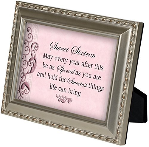 Sweet Sixteen Champagne Silver 5 x 7 inch Framed Art with Easel Back