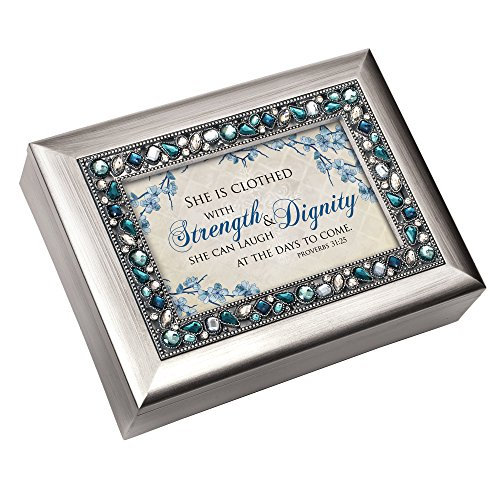 Clothed with Strength and Dignity Jeweled Silver Colored Keepsake Music Box Plays On Eagle's Wings