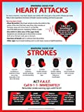 Heart Attack & Stroke Warning Signs Safety Poster - 12x18