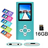 """RHDTShop MP3 MP4 Player with a 16 GB Micro SD card, Support UP to 32GB TF Card, Portable Digital Music Player/Video/Voice recorder/FM Radio/E-Book Reader, Ultra Slim 1.7"""" LCD Screen, Blue"""