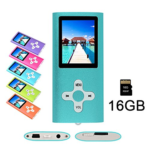 RHDTShop MP3 MP4 Player with a 16 GB Micro SD Card, Support UP to 64GB TF Card, Rechargeable Battery, Portable Digital Music Player/Video/E-Book Reader, Ultra Slim 1.7″ LCD Screen, (Blue)