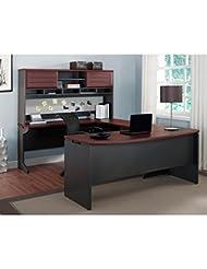 Altra Pursuit U-Shaped Desk with Hutch Bundle, Cherry/Gray