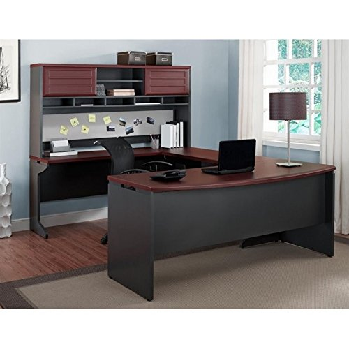Ameriwood Home Pursuit U-Shaped Desk with Hutch Bundle, Cherry by Altra Furniture