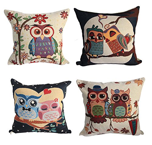 4-Pack-Sofa-Throw-Pillow-Covers-177-X-177-Inch-Vintage-Cute-Owl-Throw-Pillow-Case-Cushion-Cover-Case-Home-Wedding-Party-Decor