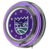 NBA Sacramento Kings Chrome Double Ring Neon Clock, 14''
