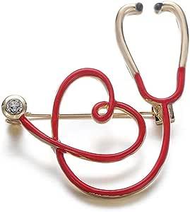COLORFULTEA Lindo Estetoscopio Pin Esmalte Médico Medicina Broche De Oro Pin Aleación Joyería Enfermera Doctor Estudiante Sombrero Alfileres De Solapa Regalo De Mujer