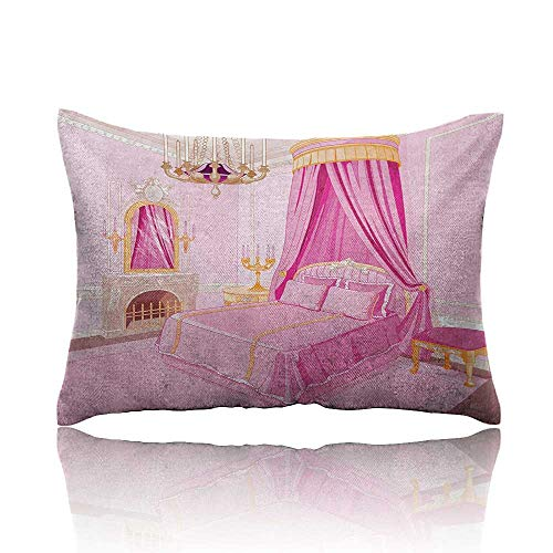 homehot Princess Small Pillowcase Interior of Magic Princess Bedroom Old Fashioned Ornament Pillow Mirror Print Zipper Pillowcase 18