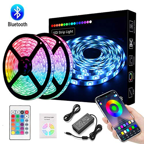 LED Light Strip, Kousee Color Changing Rope Lights 32.8ft/10M SMD 5050 RGB Light Strips with Bluetooth Controller Sync to Music Apply for TV, Bedroom, Party and Home Decoration (2x5M)