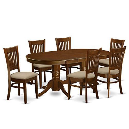 East West Furniture 7-Piece Dining Table Set (Oval Dining Room Table And 6 Chairs)