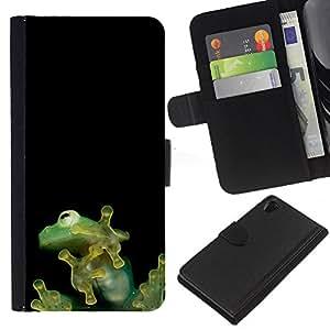 EJOY---La carpeta del tirón la caja de cuero de alta calidad de la PU Caso protector / Sony Xperia Z2 D6502 / --Minúsculos lindos de la selva de la rana