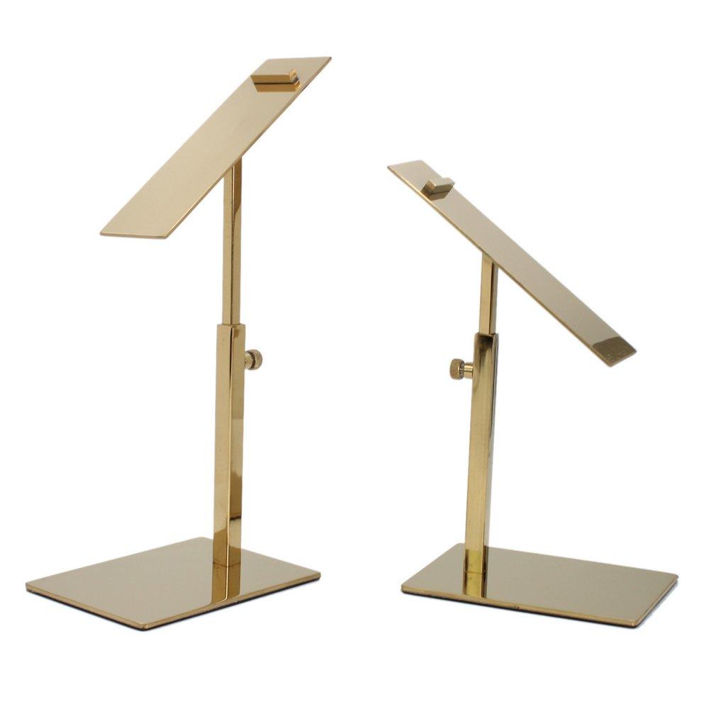 2 Pack Polished Gold Shoe Display Stand, Adjustable Height Sandal Shoe Riser