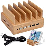 InkoTimes Bamboo Wood Charging Station - Best 5 Port Fast Charging Station for Multiple Devices - Perfect for Kindle Fire Smart Phone iPhone X iPad Tablets Home Family Office or Gift Giving