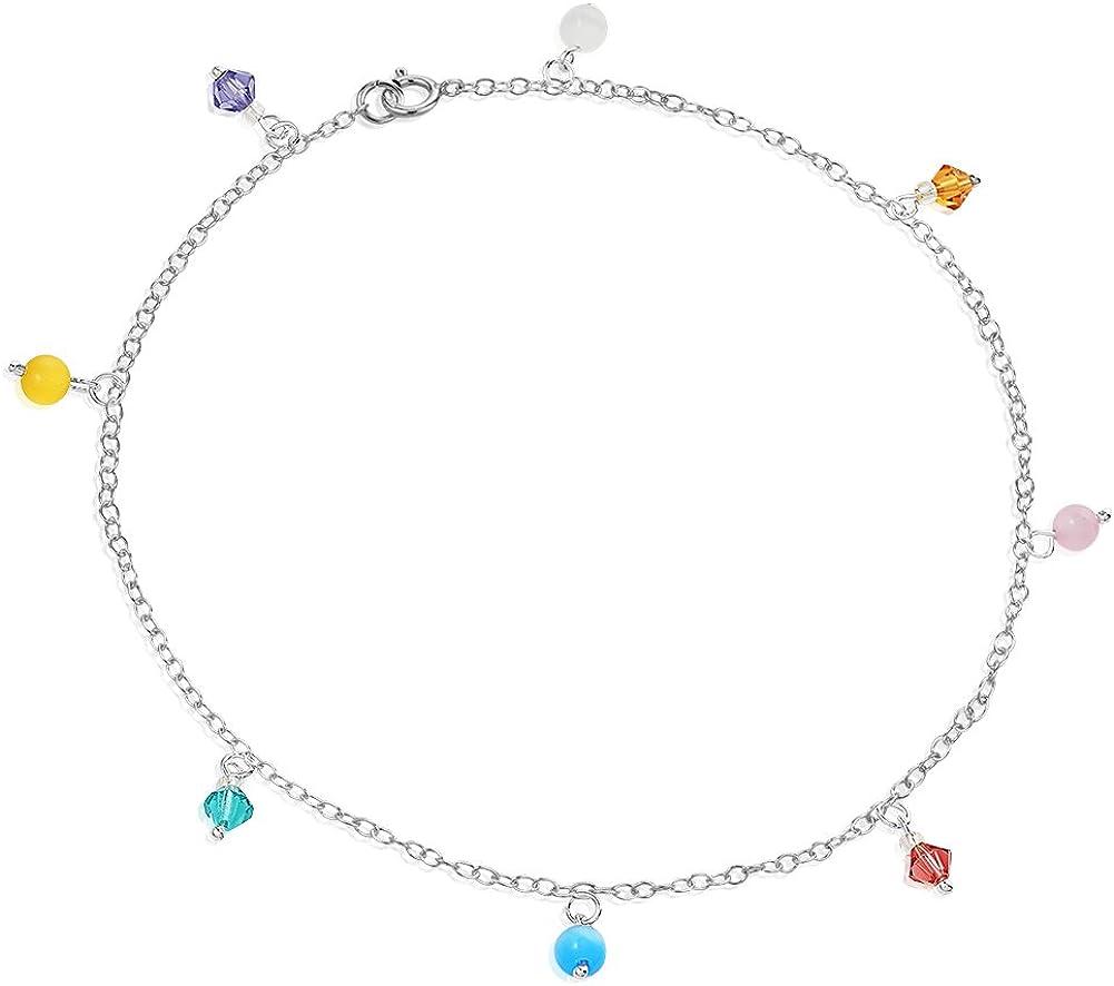 sterling silver colored crystal anklet ankle bracelet ankle chain