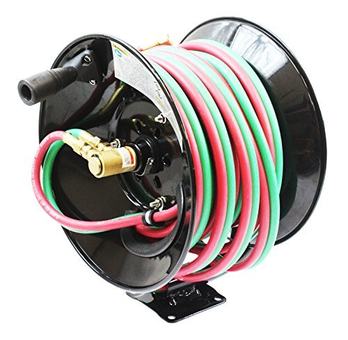Manual 50ft Twin Oxy Acetylene Welding Hose Reel 300psi 50' Twin Welding Hoses ()