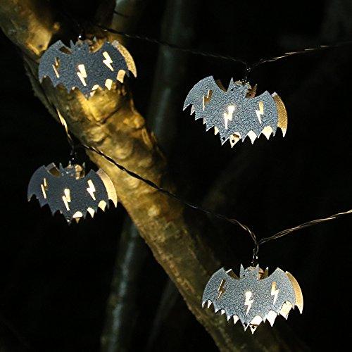 Solar Bat (ER CHEN(TM) Solar Powered 10 LED Bat,Indoor&Outdoor Waterproof 13Ft Bat Halloween String lights Solar String Lights for Patio Gardens Homes Christmas Party,Warm White)